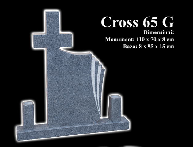 Monumente-granit-negru-cross 65g
